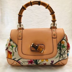 GUCCI Floral Flora Canvas Bamboo Handle Bag